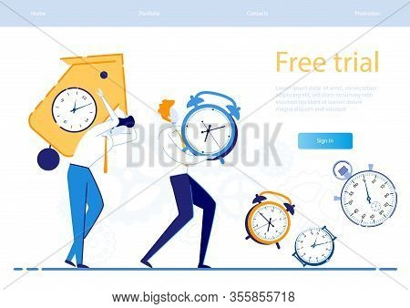 Prompt Banner Inscription Free Trial, Clock Time. Guys In Suits Are Bent Over From Gravity And Carry