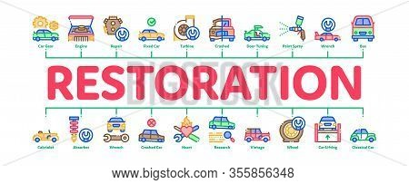 Car Restoration Repair Minimal Infographic Web Banner Vector. Classic And Crashed Car Restoration, P