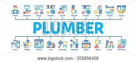 Plumber Profession Minimal Infographic Web Banner Vector. Plumber Worker And Equipment, Faucet And P