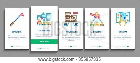 Guide Lead Traveler Onboarding Mobile App Page Screen Vector. Bus And Media Player Guide, Badge And
