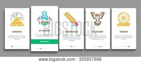 Aztec Civilization Onboarding Mobile App Page Screen Vector. Aztec Antique Pyramid And Gold, Bird An