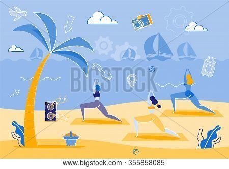 Prompt Banner Female Yoga On Seashore, Beach. Beautiful Girls In Light Athletic Form Are Engaged In