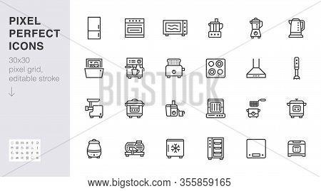Kitchen Appliance Line Icon Set. Oven, Mixer, Dishwasher, Food Processor, Combi Steamer Minimal Vect