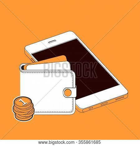 Transfer Money From Wallet To Mobile Phone. Internet Banking Concept. Wireless Money Transfer.  Isom