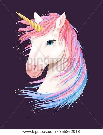 Vector Illustration Of Cute Unicorn With Gold Horn
