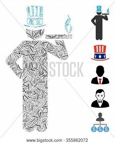Line Mosaic Based On American Capitalist Icon. Mosaic Vector American Capitalist Is Composed With Ra