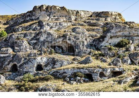Panoramic View Of Matera. Basilicata. Southern Italy. Sassi Of Matera. Basilicata. Italy.