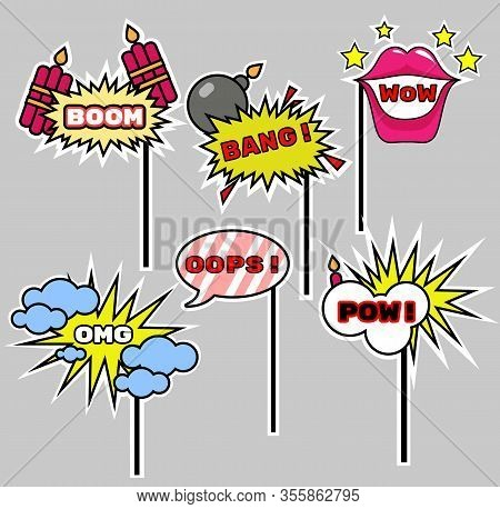 Photo Booth Props Speech Bubbles Kit. Birthday And Party Accessories Set. Can Used For Wedding And D
