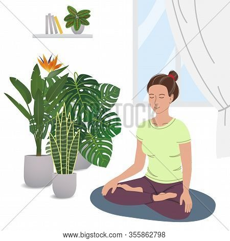 Smiling Girl Practicing Yoga And Enjoying Meditation. Young Woman Meditating In Home Garden. Concept