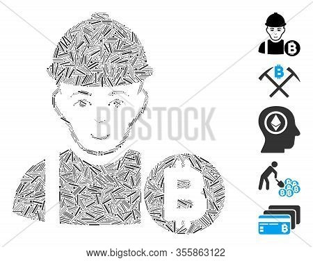 Line Mosaic Based On Bitcoin Miner Icon. Mosaic Vector Bitcoin Miner Is Created With Randomized Line
