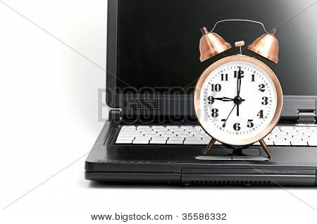 Conceptual shot of office work in relation with time efficiency. poster