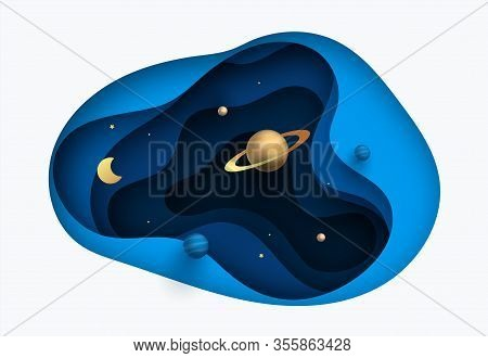 Solar System In Paper Art Style. Galaxy Paper Cut With Satellites And Planets. Vector Illustration D