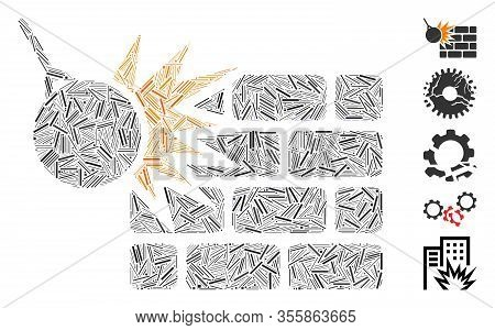 Line Mosaic Based On Brick Wall Destruction Icon. Mosaic Vector Brick Wall Destruction Is Designed W