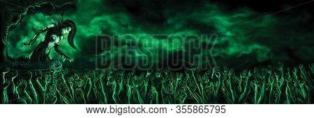 Woman Necromancer Over Zombie Horde Hands. Digital Painting