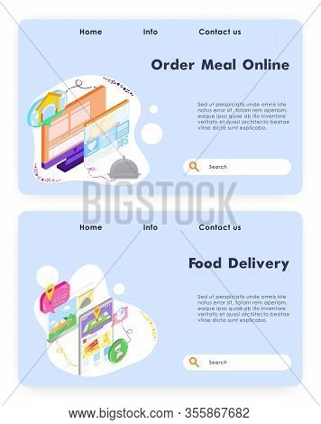Order Meal Online. Food Fast Delivery App. Vector Web Site Design Template. Landing Page Website Con