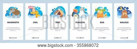 Arctic And Antarctic Animals, Mammonth, Penguin, Walrus. North Adventure Outdoor Travel. Mobile App