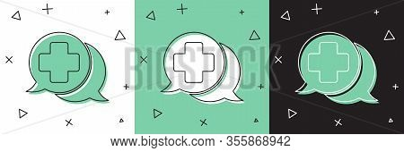 Set Dialogue With The Doctor Icon Isolated On White And Green, Black Background. Doctor And Patient