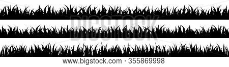 Panoramic Seamless Grass Silhouette For Footer And Design.