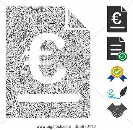 Hatch Mosaic Based On Euro Invoice Icon. Mosaic Vector Euro Invoice Is Formed With Randomized Hatch