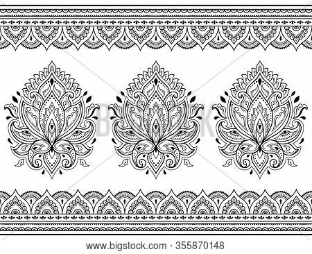 Seamless Pattern Of Mehndi Lotus Flower And Border For Henna Drawing And Tattoo. Decorative Doodle O