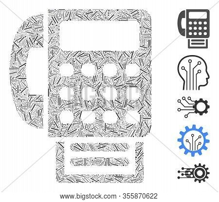 Line Mosaic Based On Fax Machine Icon. Mosaic Vector Fax Machine Is Composed With Random Line Spots.
