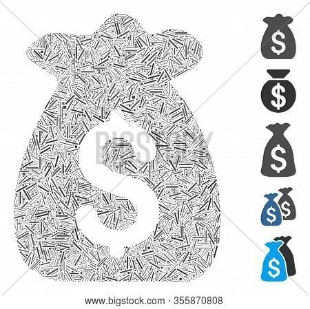 Line Mosaic Based On Financial Capital Icon. Mosaic Vector Financial Capital Is Composed With Random