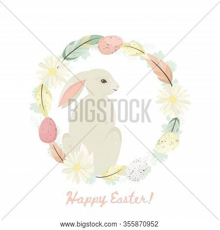 Happy Easter. Cute Bunny With Eggs In Wreath. Easter Holiday Concept. Vector Illustration.