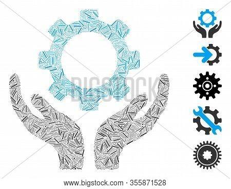 Line Mosaic Based On Gear Maintenance Hands Icon. Mosaic Vector Gear Maintenance Hands Is Designed W