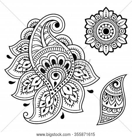 Set Of Mehndi Flower Pattern For Henna Drawing And Tattoo. Decoration In Ethnic Oriental, Indian Sty