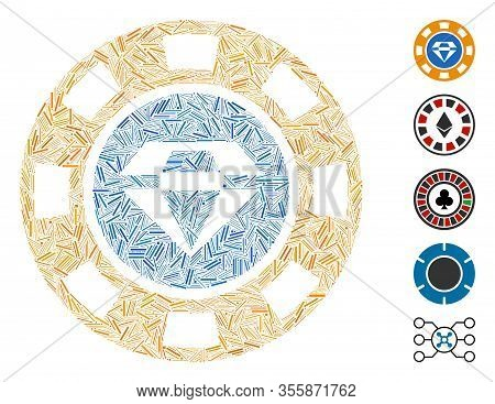 Line Mosaic Based On Gem Casino Chip Icon. Mosaic Vector Gem Casino Chip Is Composed With Randomized
