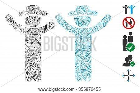 Dash Mosaic Based On Hands Up Gentlemen Icon. Mosaic Vector Hands Up Gentlemen Is Composed With Rand