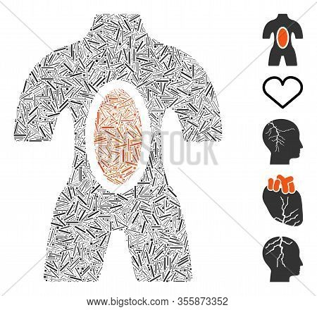 Dash Mosaic Based On Human Anatomy Icon. Mosaic Vector Human Anatomy Is Composed With Randomized Das