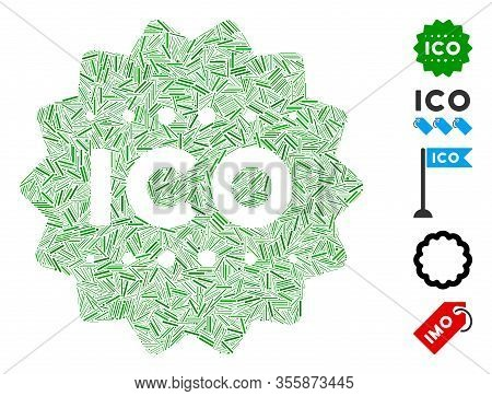 Hatch Mosaic Based On Ico Token Icon. Mosaic Vector Ico Token Is Composed With Scattered Hatch Spots