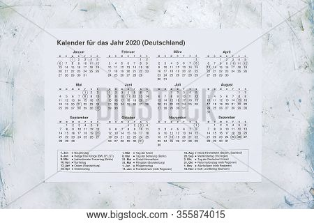 Kalender Fur Das Jahr 2020 Deutschland. Translation: 2020 Year Calendar With National Holidays Of Ge