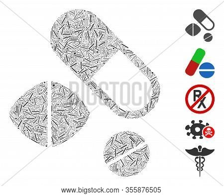Line Mosaic Based On Medication Pills Icon. Mosaic Vector Medication Pills Is Designed With Random L
