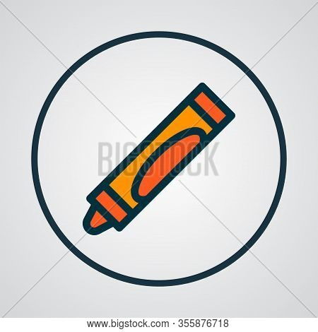 Crayola Icon Colored Line Symbol. Premium Quality Isolated Crayons Element In Trendy Style.