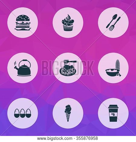 Food Icons Set With Popcorn, Takeaway Coffee, Cupcake And Other Decaf Elements. Isolated Vector Illu