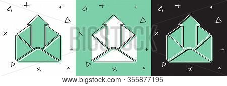 Set Outgoing Mail Icon Isolated On White And Green, Black Background. Envelope Symbol. Outgoing Mess