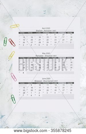 Hijri 1441 Calendar Year. Islamic Calendar 2020. April, May And June Months