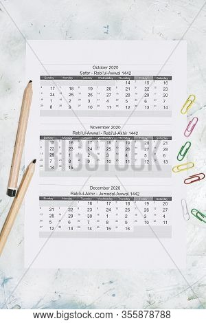 Hijri 1442 Calendar Year. Islamic Calendar 2020. October, November And December Months