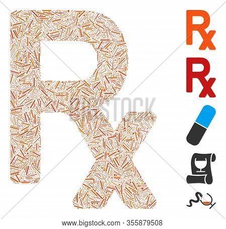 Hatch Mosaic Based On Prescription Symbol Icon. Mosaic Vector Prescription Symbol Is Designed With S