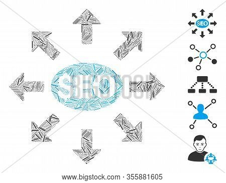 Dash Mosaic Based On Seo Distribution Icon. Mosaic Vector Seo Distribution Is Formed With Scattered
