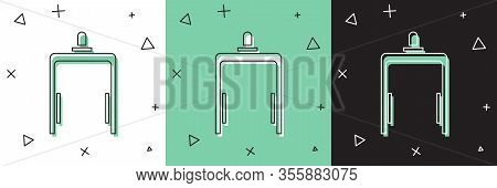 Set Metal Detector In Airport Icon Isolated On White And Green, Black Background. Airport Security G