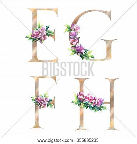 Gold Floral Letters Set With Flowers Of Magnolia And Leaves. Elegant Alphabet Isolated On The White