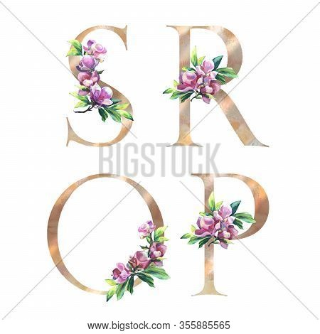 Floral Letters Set With Hand Painted Flowers Of Magnolia And Leaves. S, R, O, P. Elegant Alphabet On