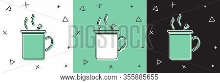 Set Mulled Wine With Glass Of Drink And Ingredients Icon Isolated On White And Green, Black Backgrou