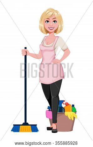 Housewife Concept, Young Pretty Stylish Woman Preparing For Cleaning. Beautiful Lady Cartoon Charact