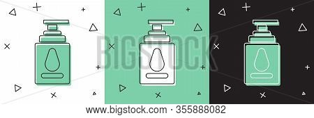 Set Personal Lubricant Icon Isolated On White And Green, Black Background. Lubricating Gel. Cream Fo