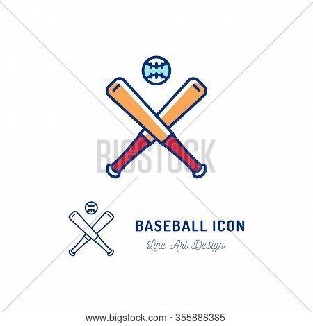Baseball Icon. Two Crossed Baseball Bats And Ball Thin Line Art Colorful Icons. Vector Flat Design