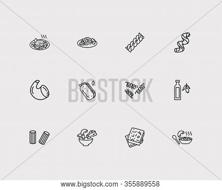 Traditional Meal Icons Set. Rigatoni Pasta Shape And Traditional Meal Icons With Pasta Shape, Foccac